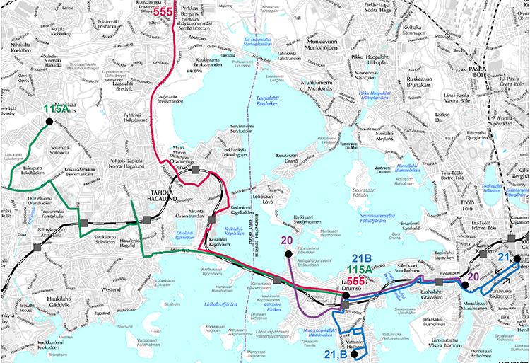 Lauttasaaren bussilinjasto metron liityntäliikenteessä
