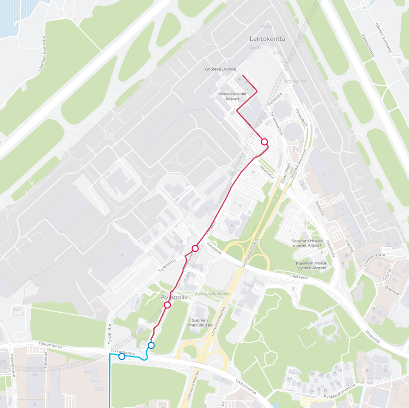 Bussit liikennöivät Aviapoliksesta lentoasemalla 14.5. alkaen