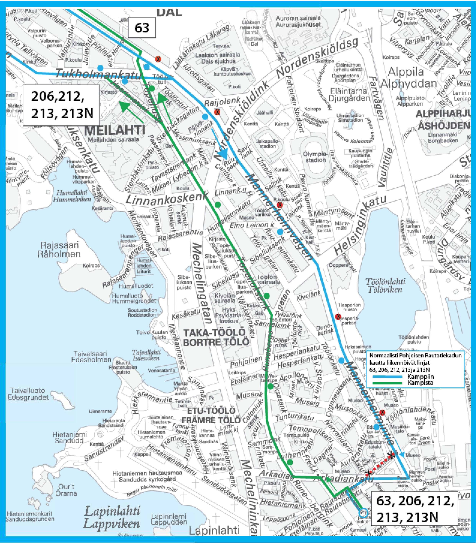 Pika- ja vakiovuorot sekä Finnair City Bus poikkeusreitillä 5.-9.1.2019 Lux Helsinki -tapahtuman aikana