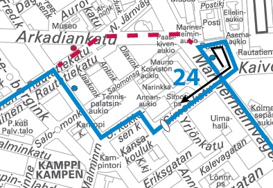 Bus route 24 diverted 1218 June due to excavation work HSL