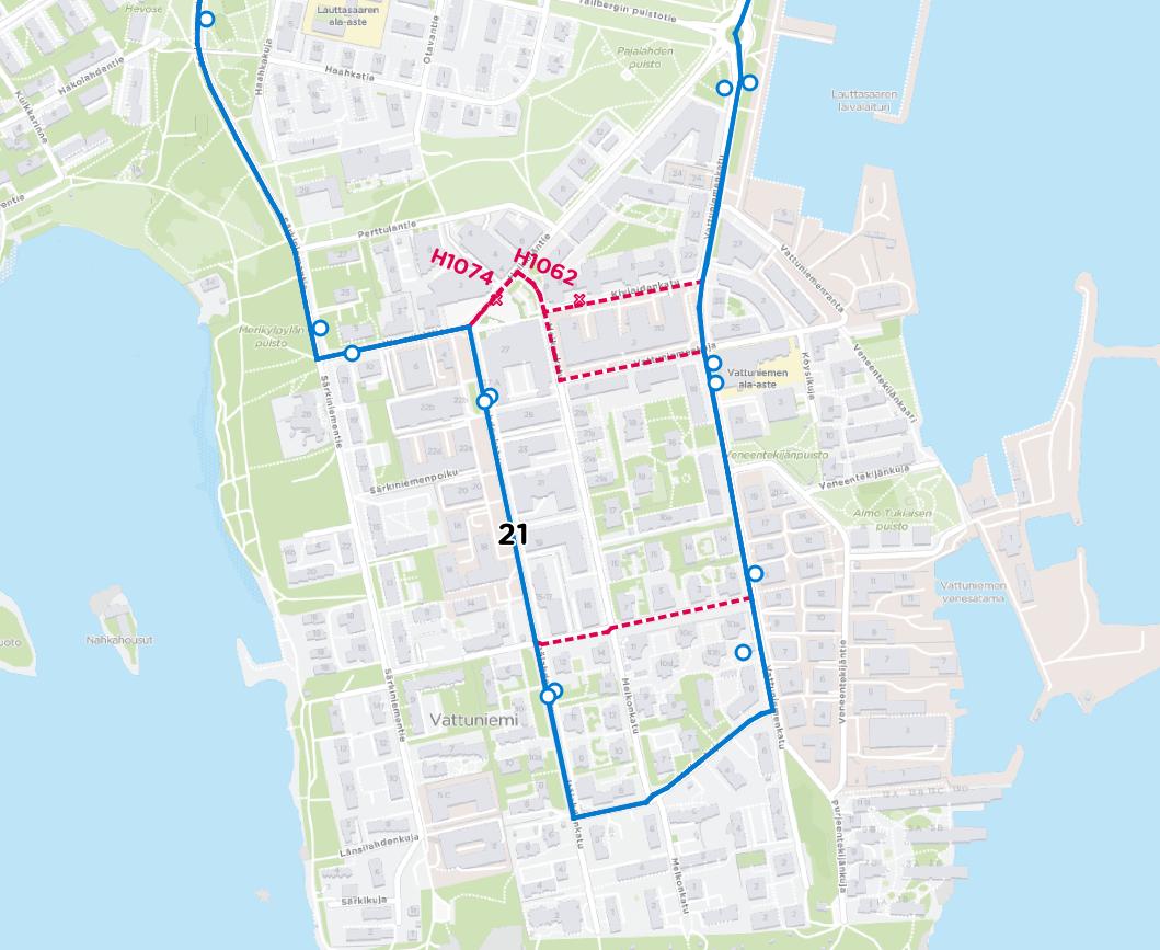 Linja 21 kulkee Vattuniemessä Itälahdenkatu molempiin suuntiin