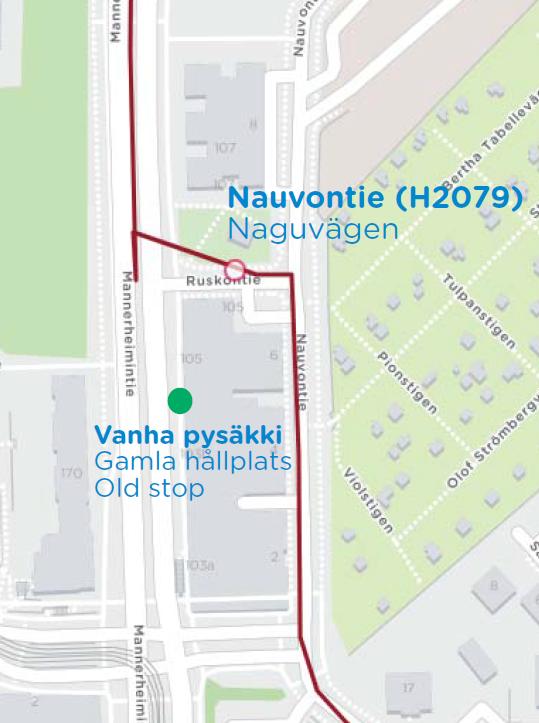 Linjan 23 uusi reitti Ruskeasuolla Rautatientorin suuntaan
