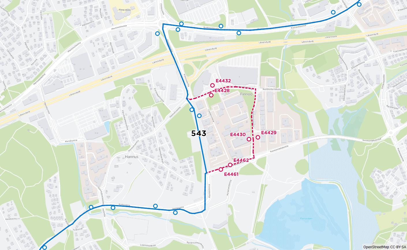 Kartta linjan 543 uudesta reitistä Finnoonsiltaa pitkin