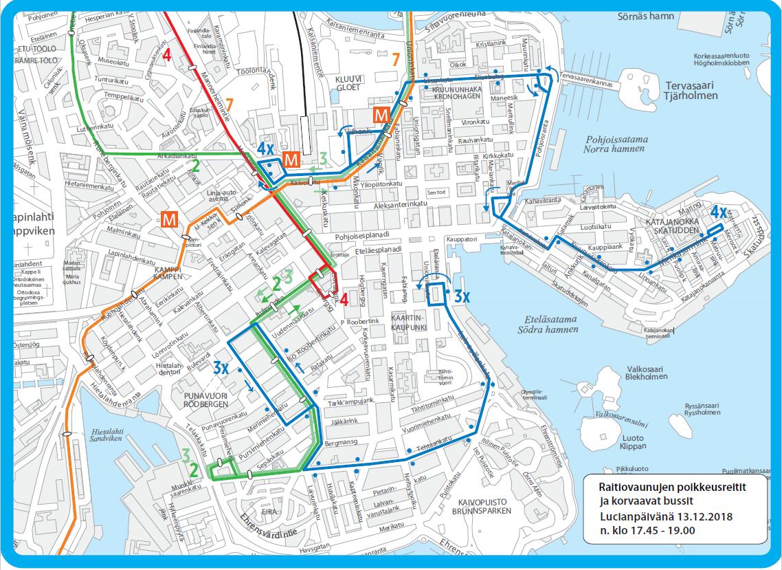 Raitiovaunujen ja korvaavien bussien reitit Lucia-kulkueen aikana 13.12.