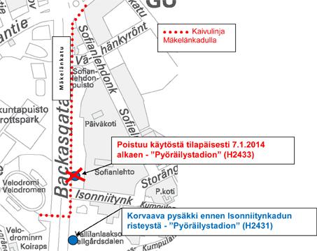 Mäkelänkadulla pysäkki pois käytöstä 7.1.2014