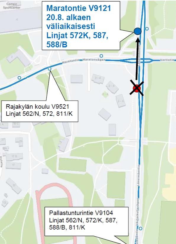 Linjojen 572K, 587 ja 588(B) pysäkki sijaitsee Maratontien ja Länsimäentien liittymän pohjoispuolella