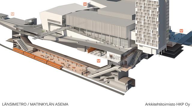 Perspektiivileikkaus Matinkylän metroasemasta ja bussiterminaalista