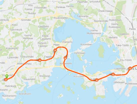 Metrojen sijainti kartalla