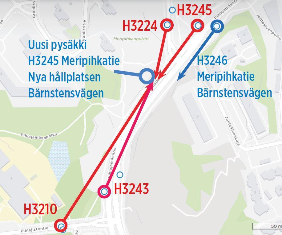 Muutoksia pysäkeissä Pihlajamäessä H3210,H3243,H3224, H3245 poistuvat käytöstä