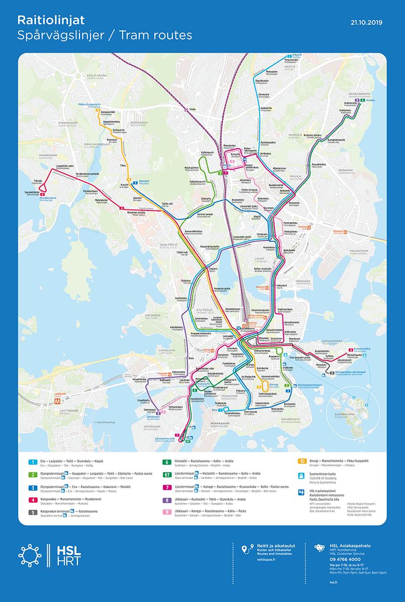 Raitiovaunujen linjakartta 21.10.2019 alkaen