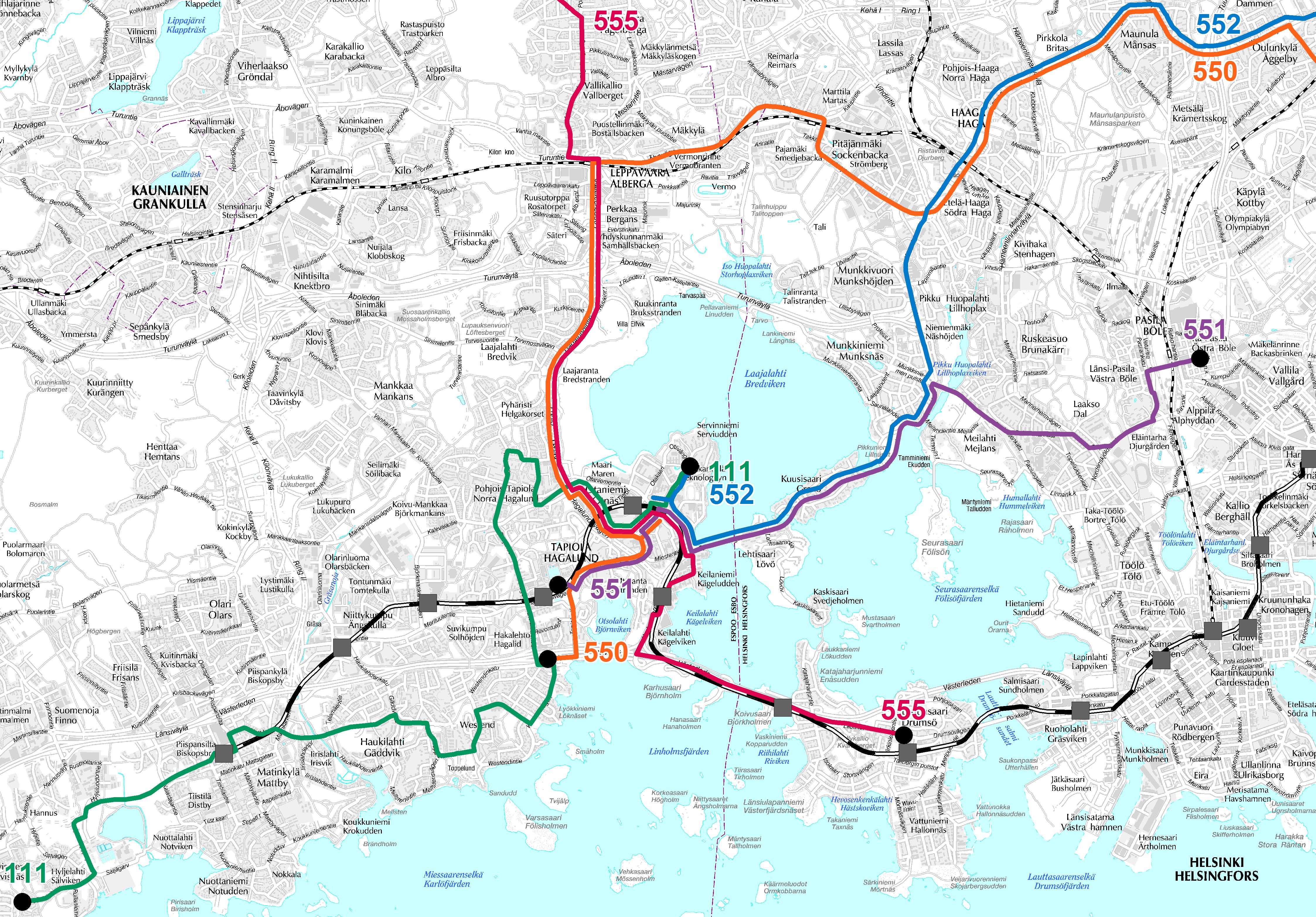 Otaniemen, Lehtisaaren ja Kuusisaaren bussilinjat metron liityntäliikenteessä