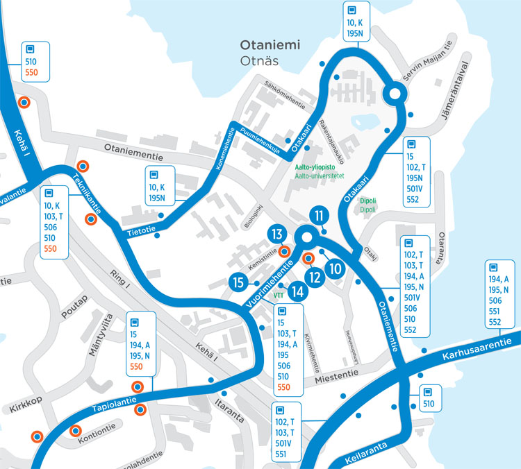Bus routes diverted in Otaniemi until the opening of the