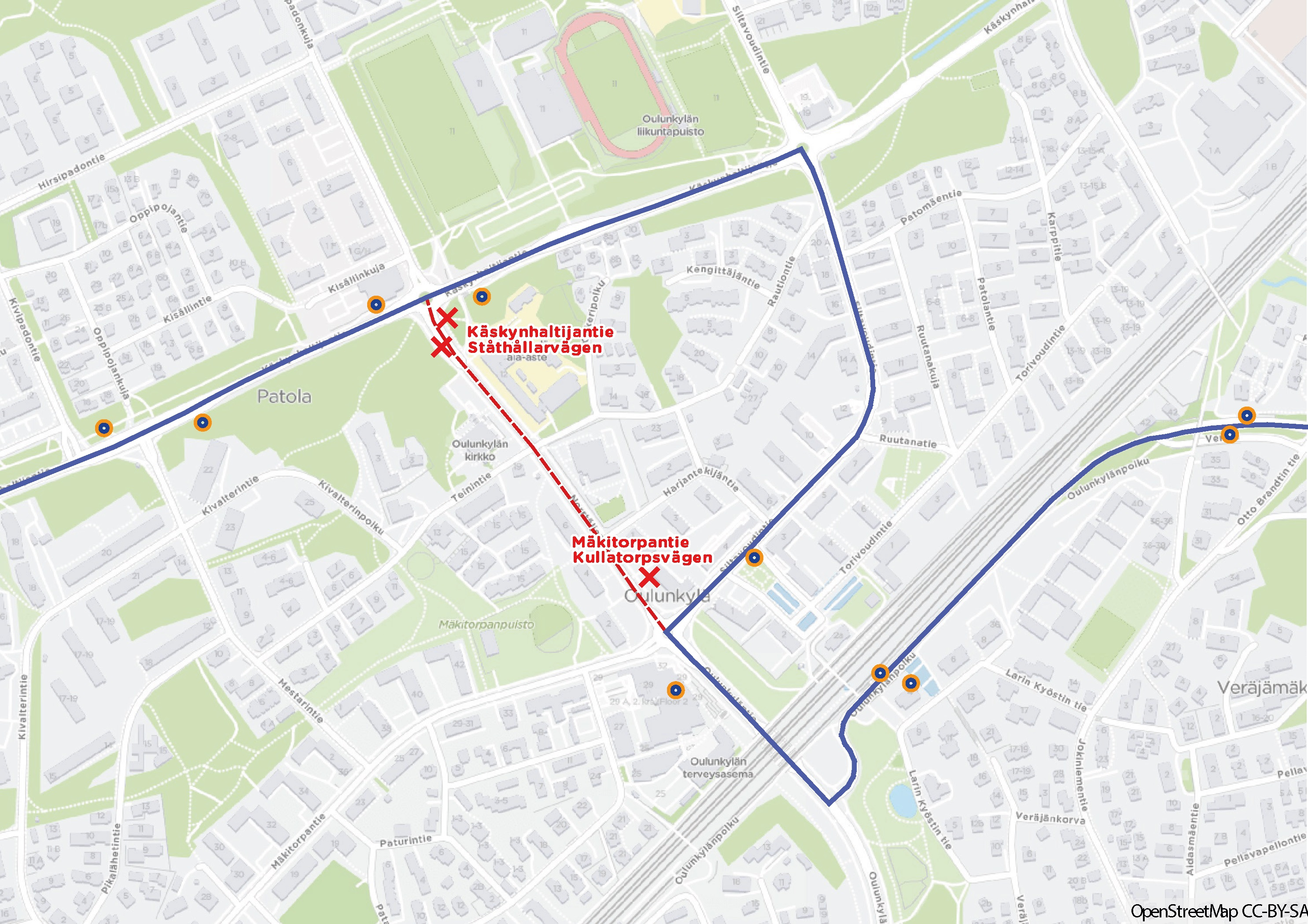 Linjan 550 reitti Oulunkylässä muutetaan kulkemaan Siltavoudintien kautta omalle reitilleen Käskynhaltijantielle.