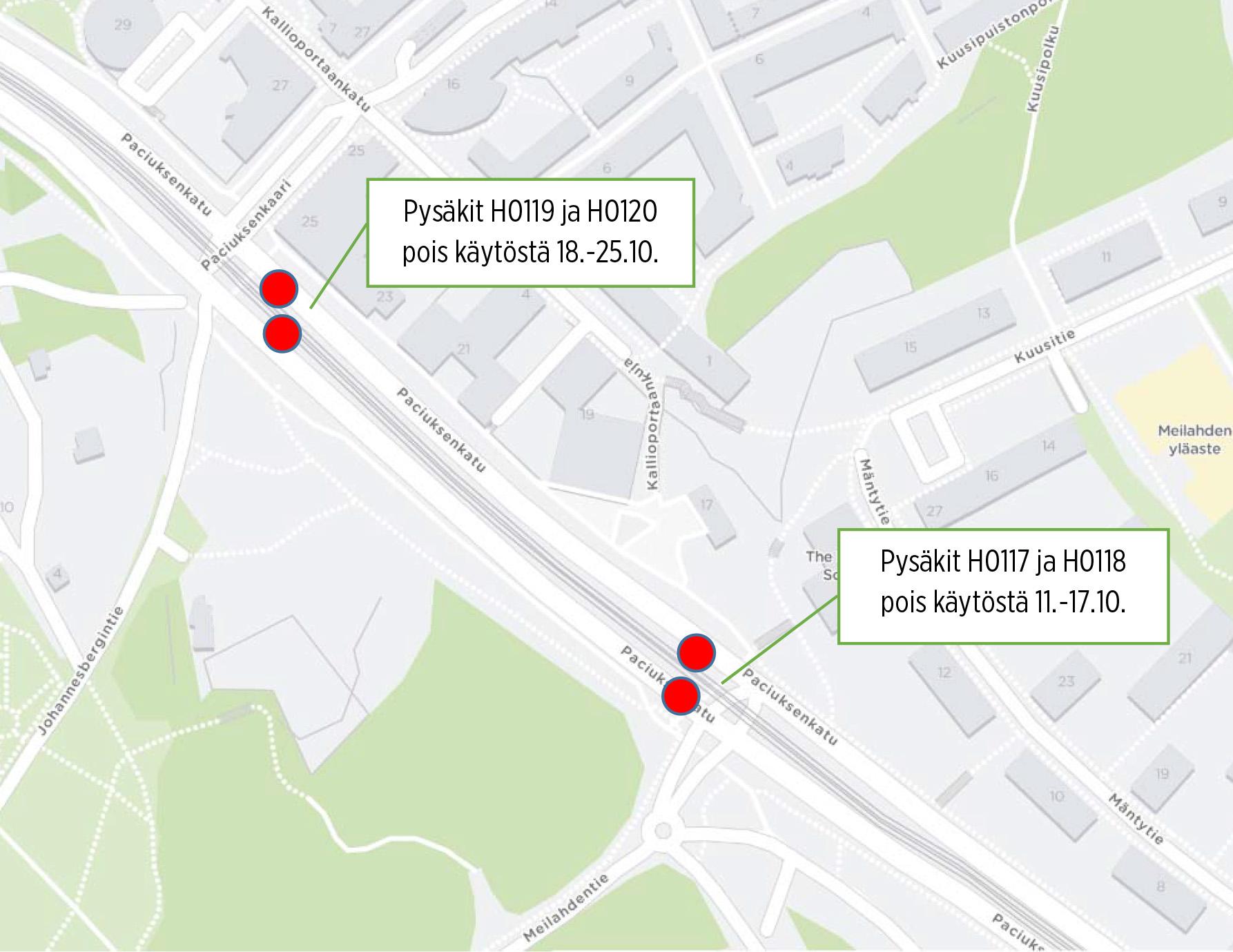 Meilahdessa raitiolinjan 4 pysäkkejä poissa käytöstä 11.-25.10.   HSL