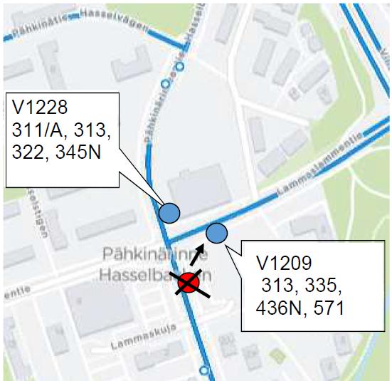 Lammaskuja V1228 uusi pysäkki linjoille 311/A, 313, 322, 345N