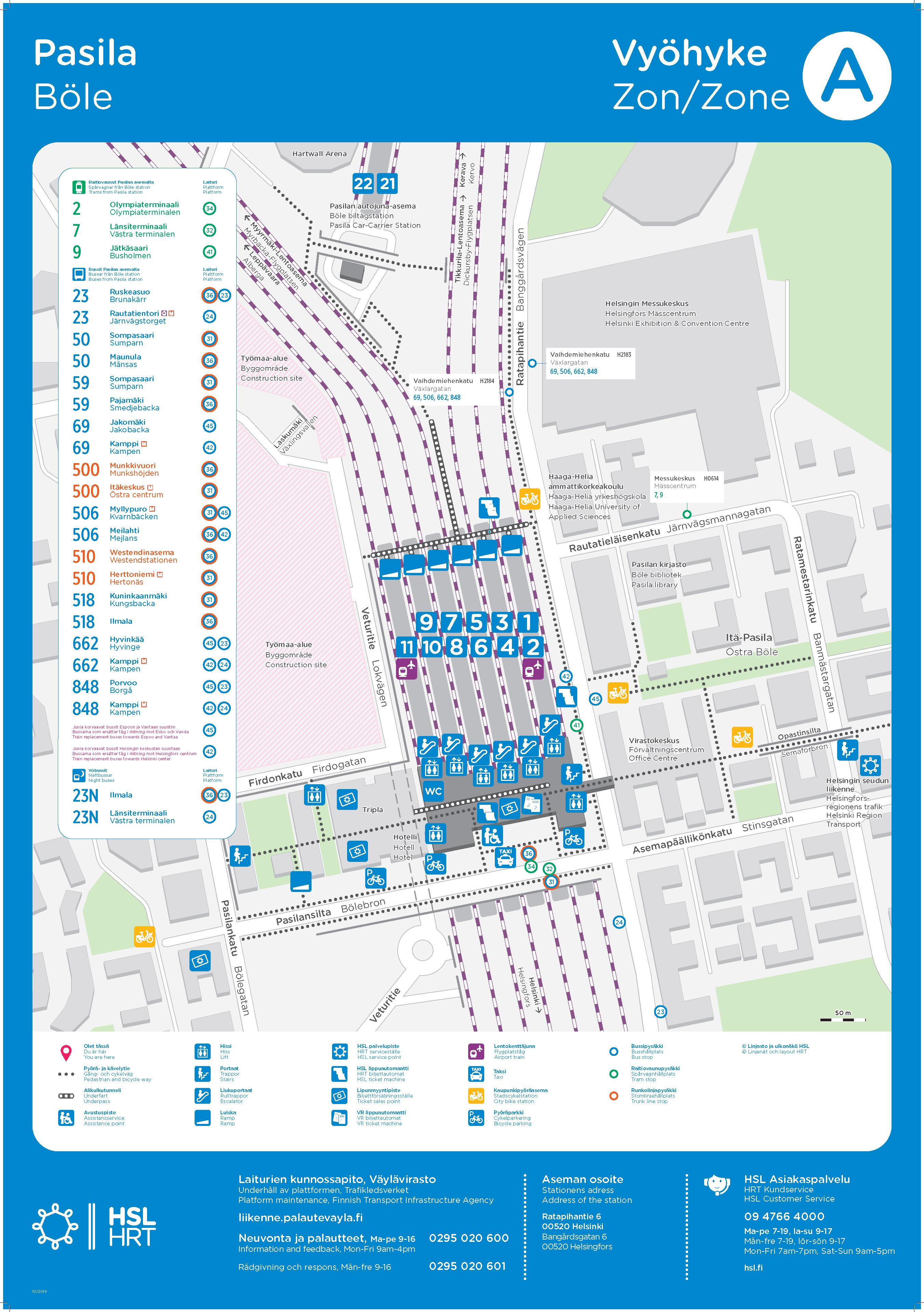 Kartta Pasilan aseman lähialueesta 17.10.2019 alkaen