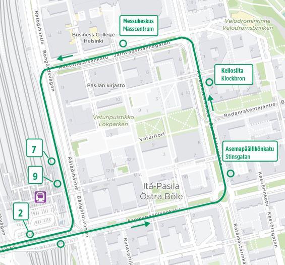 Kartta raitiolinjan 2 uudesta lenkistä Itä-Pasilan puolella 13.7. alkaen