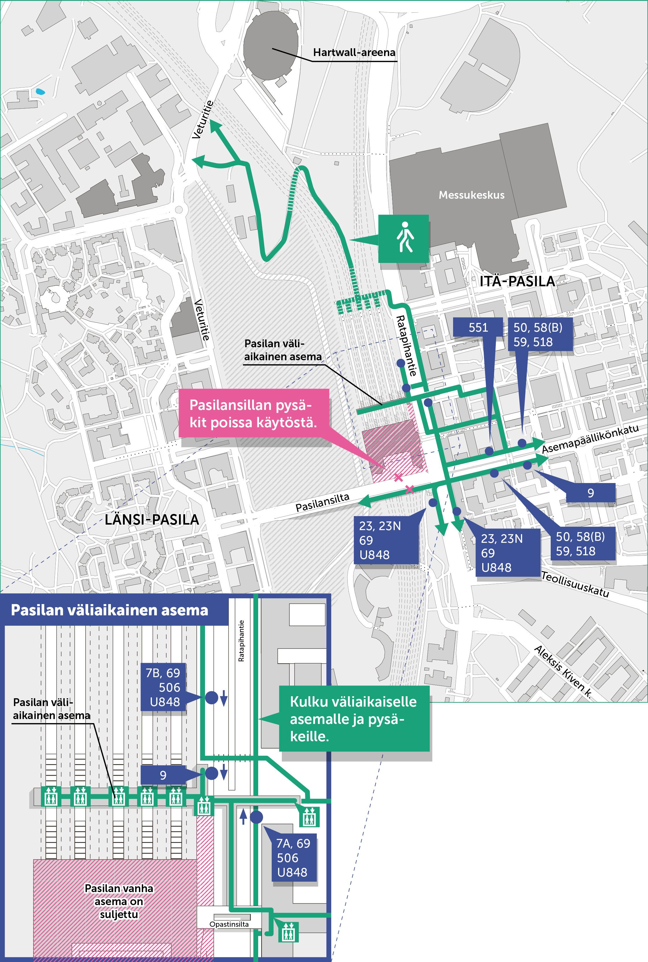 Kävelyreitit ja joukkoliikenteen pysäkit Pasilan asemalla 19.6.2017 alkaen