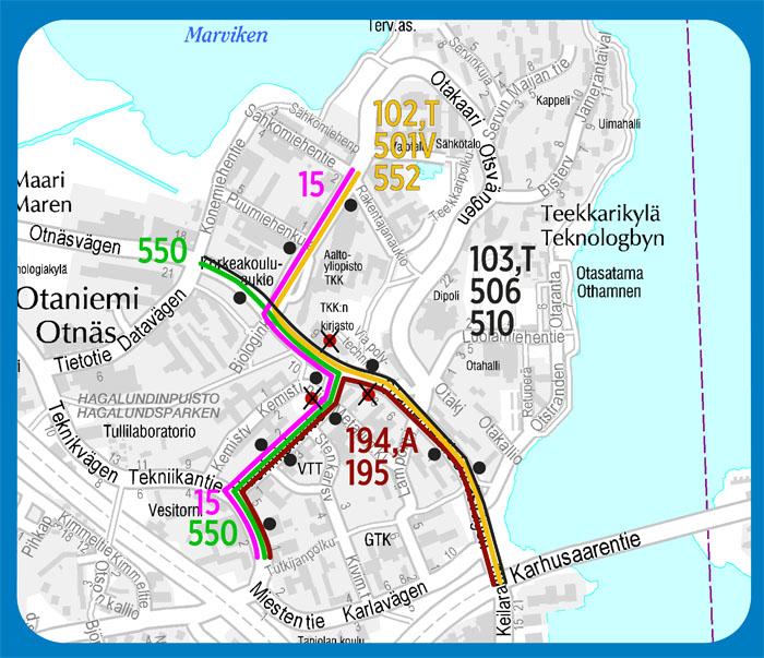 Pysäkkimuutokset Otaniemessä 10.11.2015
