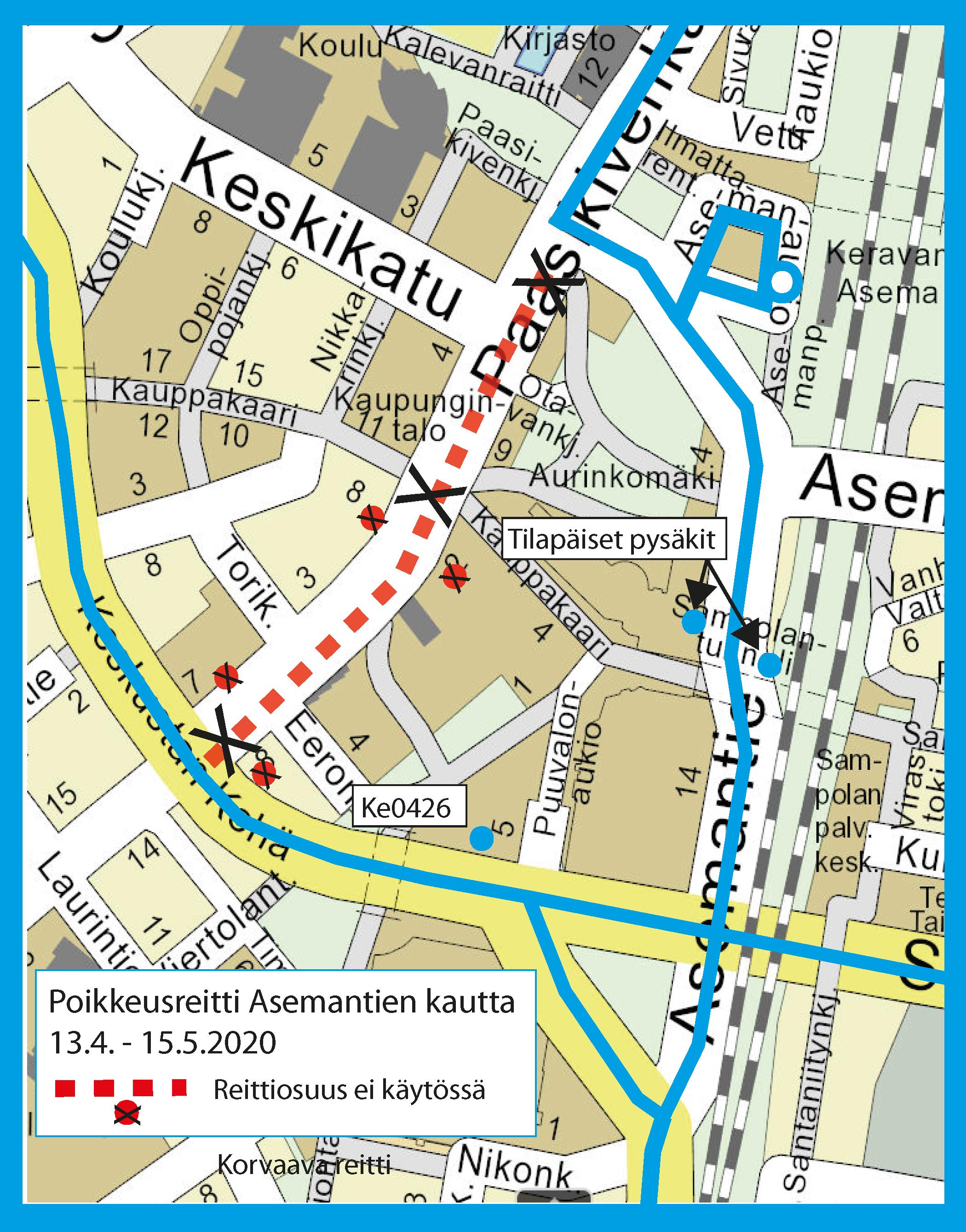 Poikkeusreitti Asemantien kautta 13.4. - 15.5.2020