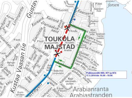 Linjojen 68, 71 ja 74 poikkeusreitti 17.5.2014