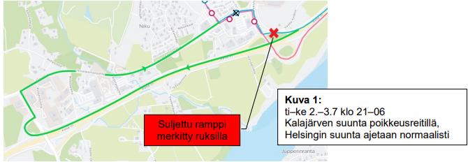 Kehä III:tä jatketaan Koskelon liittymään asti. Normaalille reitille palataan K-Supermarketin kohdalta.