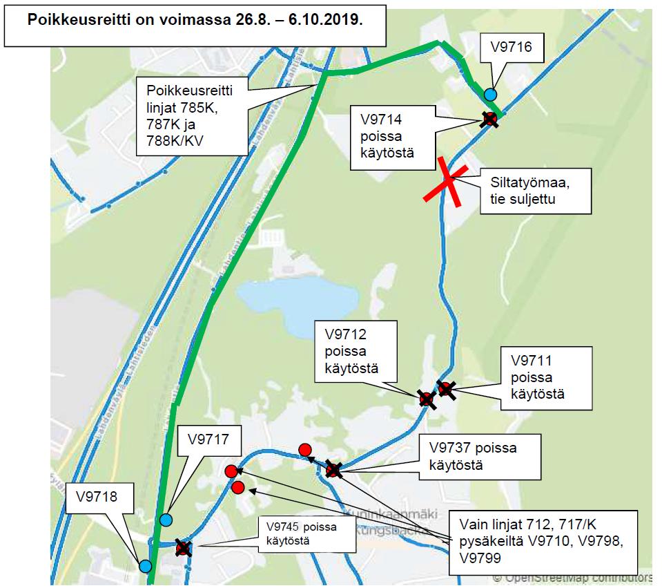 Linjat 785K, 787K, 788K/KV poikkeusreitillä Kuninkaanmäessä 26.8.-6.10.