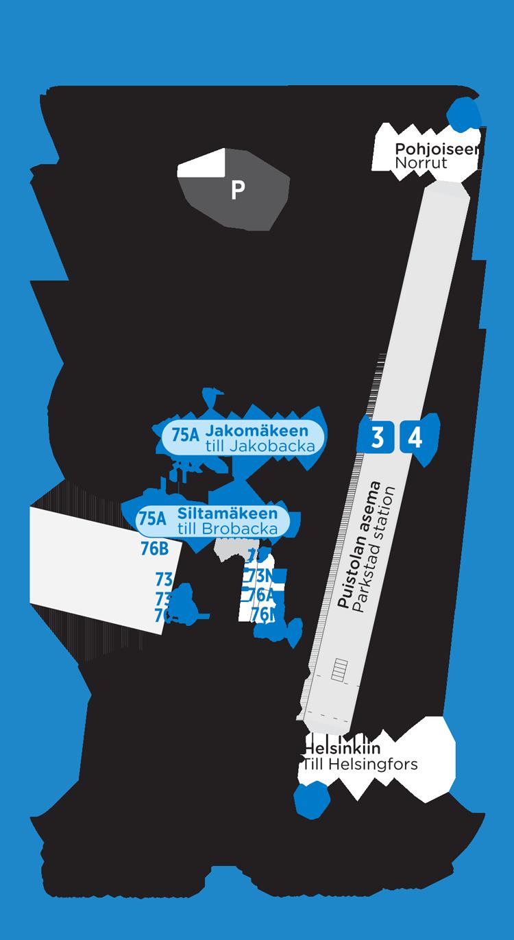 Puistolan bussien ja junien lähtölaiturit 15.8.2016 alkaen