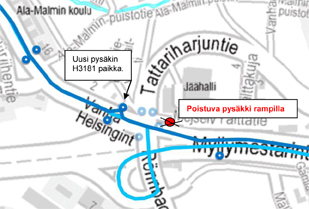 Pysäkin poisto Kehä I Malmin rampilta 28.8.2015