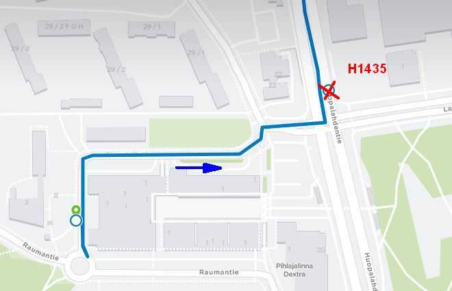 Stop H1435 For Neighborhood Route 31 In Munkkivuori Closed Hsl