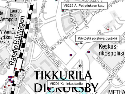 Vantaan Jokiniemessä linjan 69 pysäkki poistuu käytöstä 10.2.