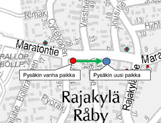Pysäkin V9505 tilapäinen paikka 14.3.2014 alkaen