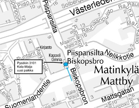 Kartta, pysäkkimuutos Matinkylässä 26.9.2013
