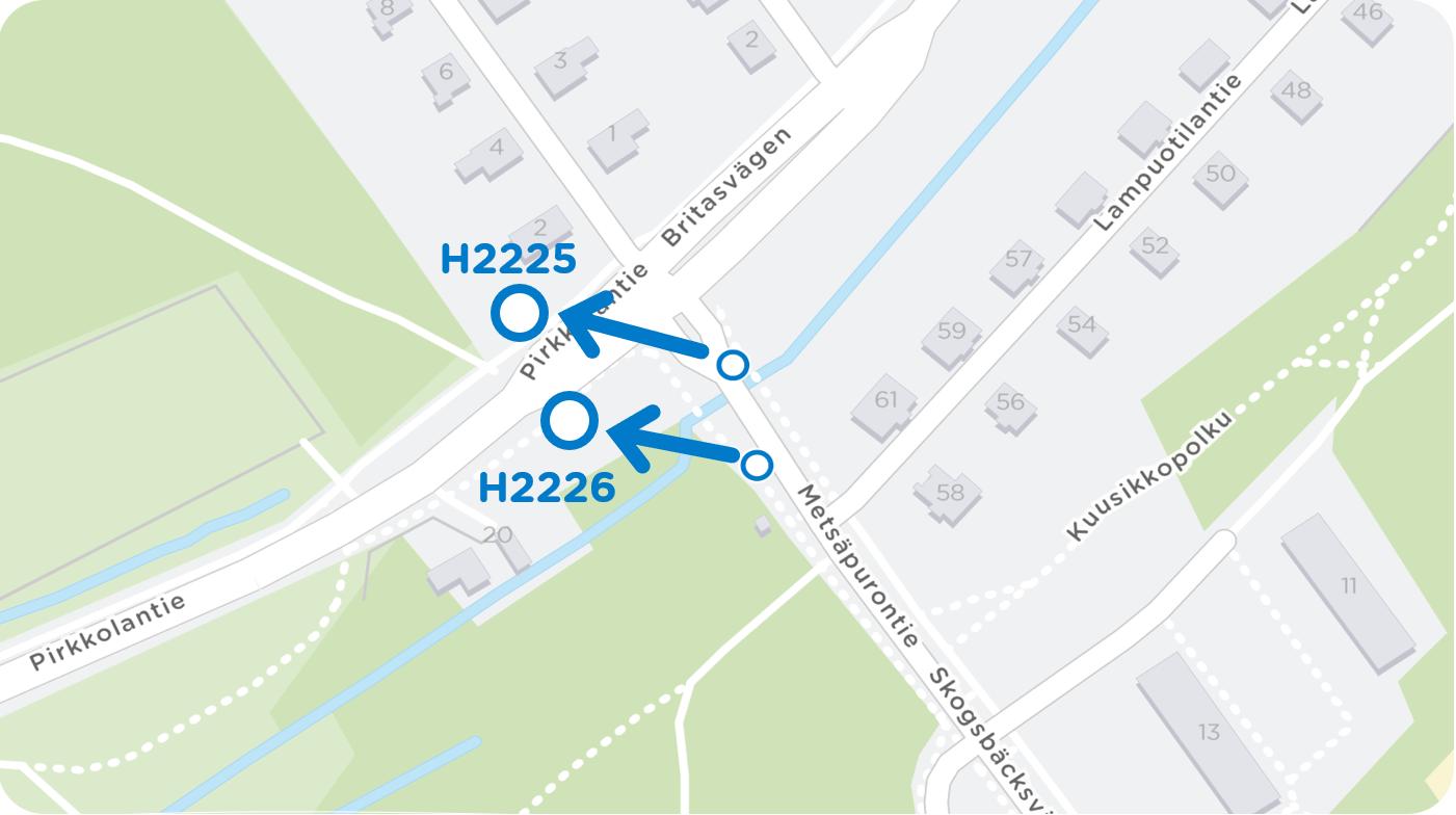 Pysäkit H2225 Plotinrinne ja H2226 Maunla siirtyvät Metsäpurontieltä Maunulantielle