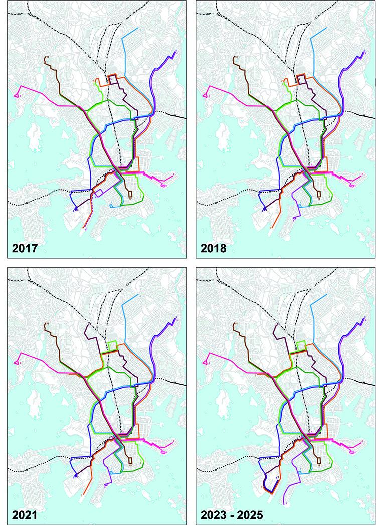 Raitiolinjaston muutoksia vuoden 2017 jälkeen