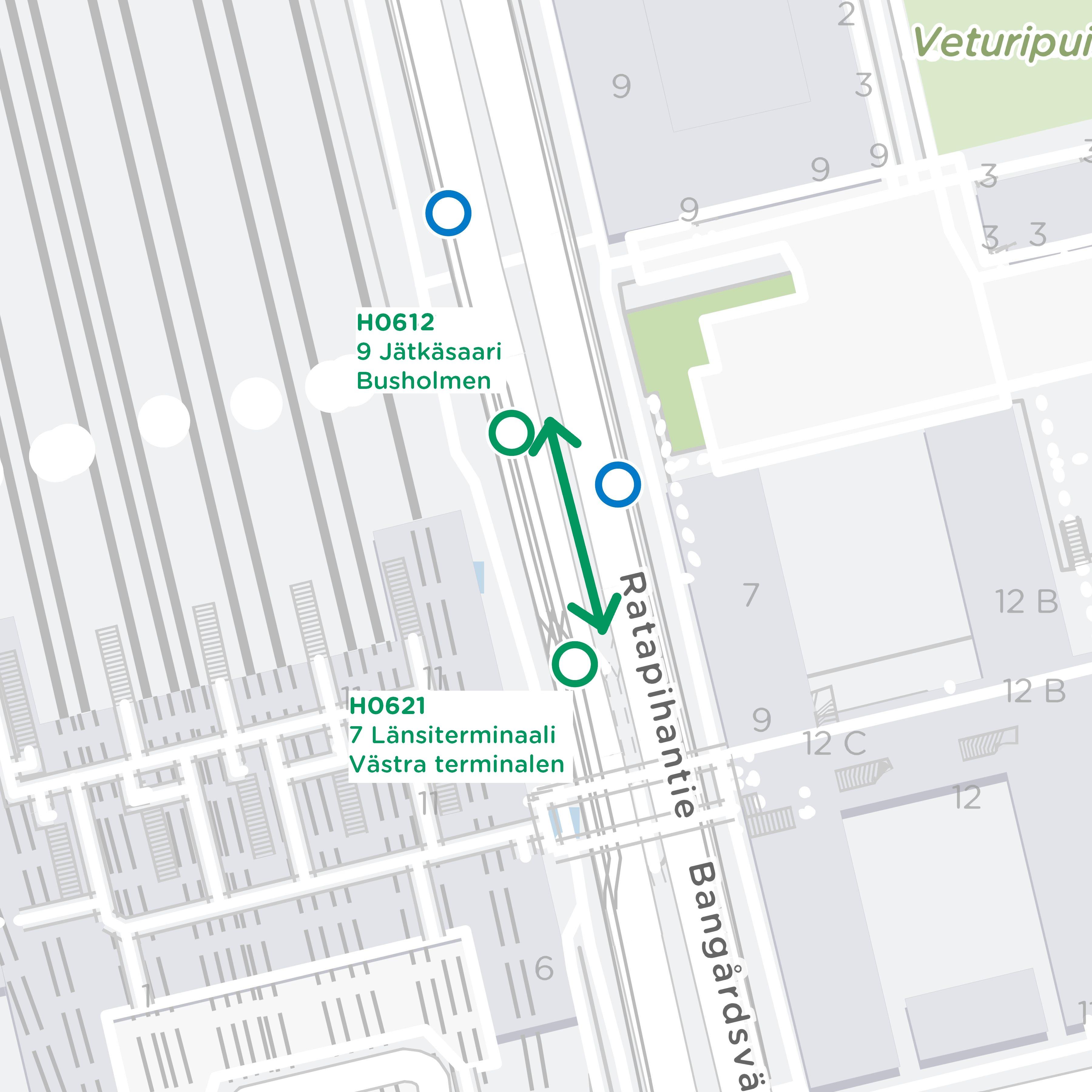 Linjat 7 ja 9 vaihtava pysäkkejä keskenään Ratapihantiellä