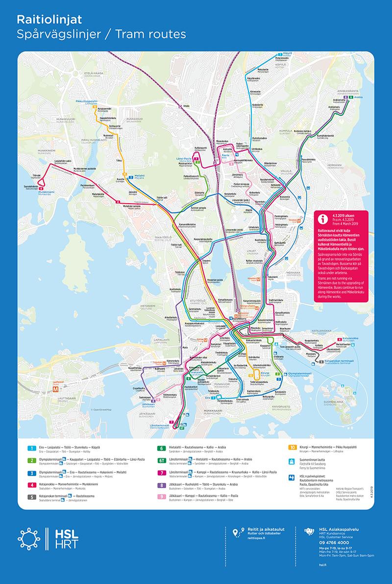 Maantieteellinen kartta raitiolinjojen reiteistä 4.3.2019 alkaen