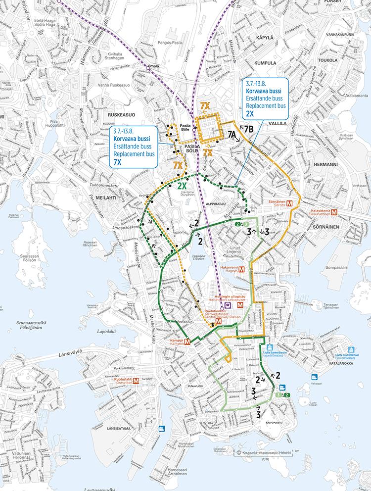 Raitiolinjojen 2, 3 ja 7A/B sekä korvaavien bussin 2X ja 7X reitit 3.7.-13.8.2017