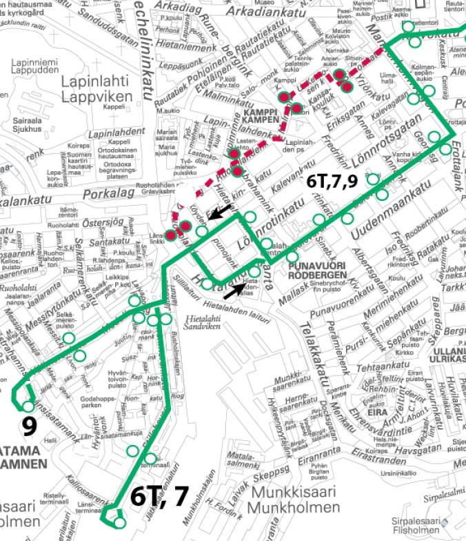 Raitiolinjoilla Kamppi jää ajamatta, ajetaan Bulevardin kautta linjan 6T reittiä