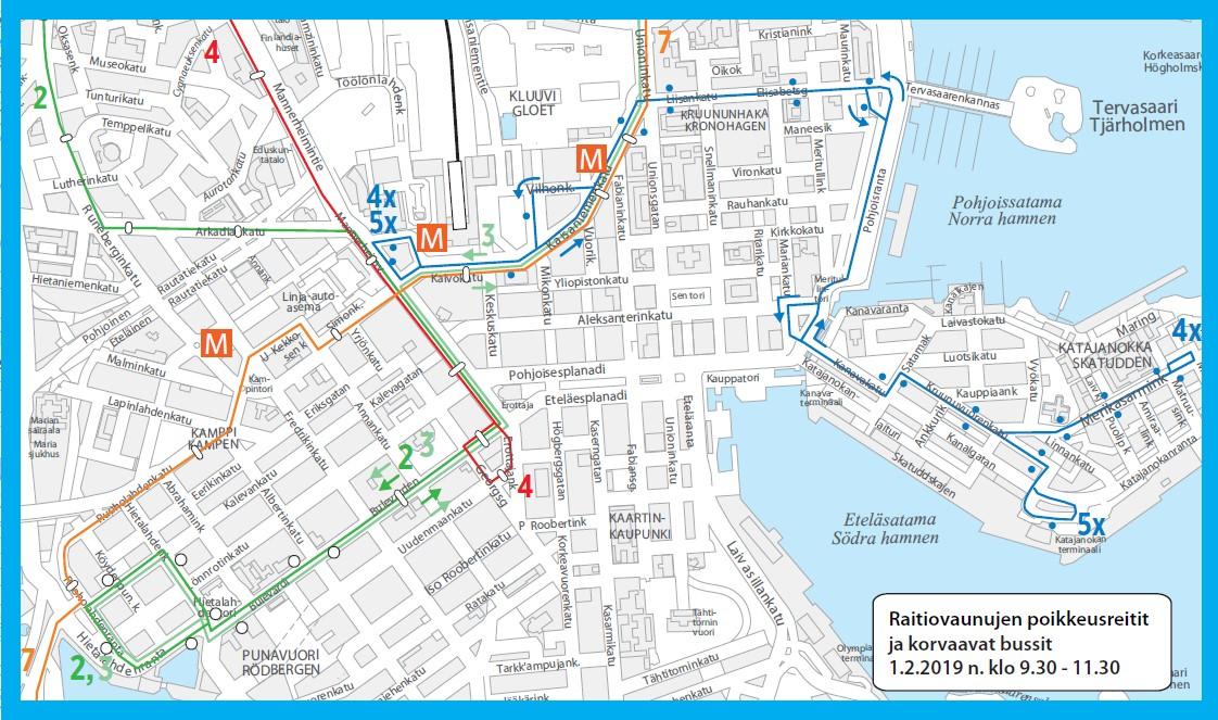 Raitiolinjojen 2, 3, 4, 5 ja 7 poikkeusreitit ja korvaavien bussien 4X ja 5X reitit 1.2.2019 noin kello 9.30-11.30 kartalla