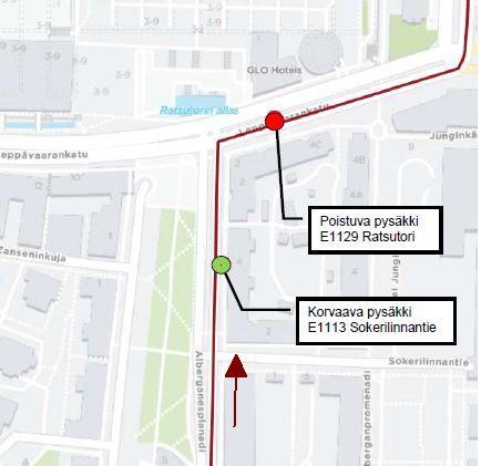 Kartta poistuvan pysäkin E1129 ja korvaavan pysäkin E1113 sijainneista