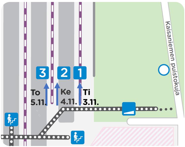 Laitureiden 1,2,3 junat pysähtyvät pohjoisempana