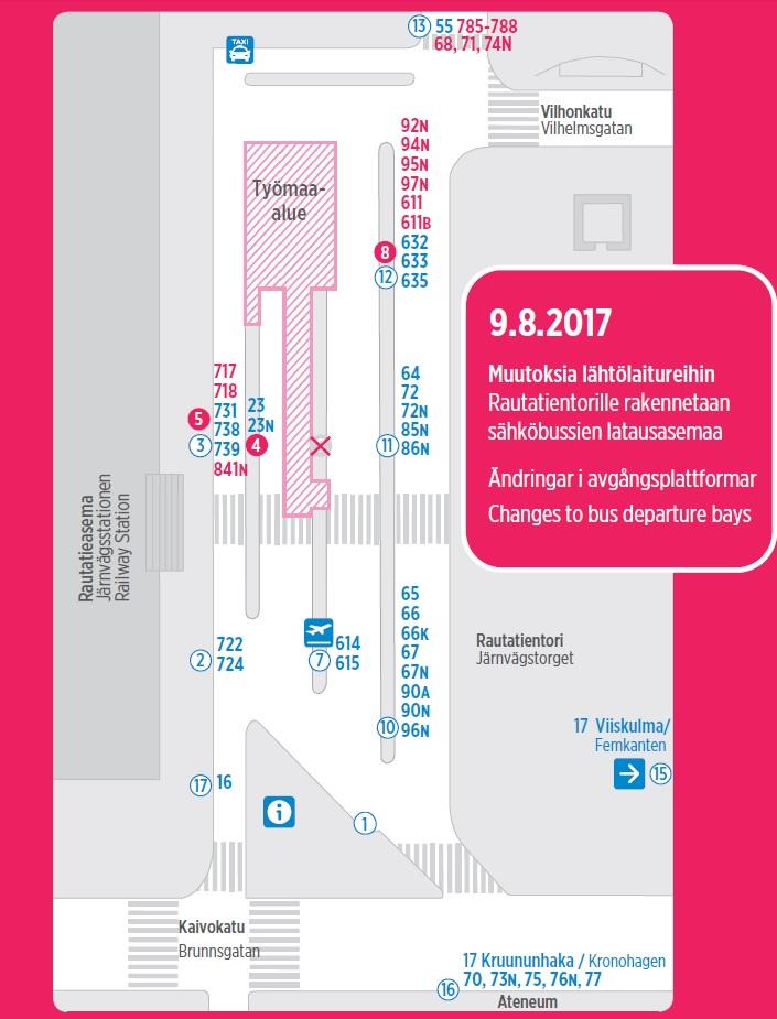 Rautatientori laiturimuutokset 9_8_2017