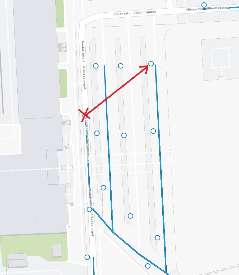 Laituri 3 suljettuna Rautatientorilla. Linjat laiturista 12