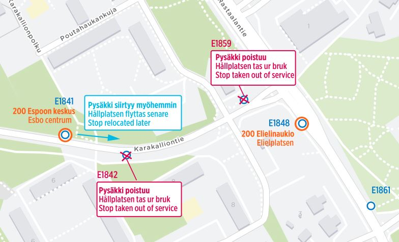 Tarkempi kartta poistuvista ja korvaavista pysäkeistä Rastaalantien risteyksessä