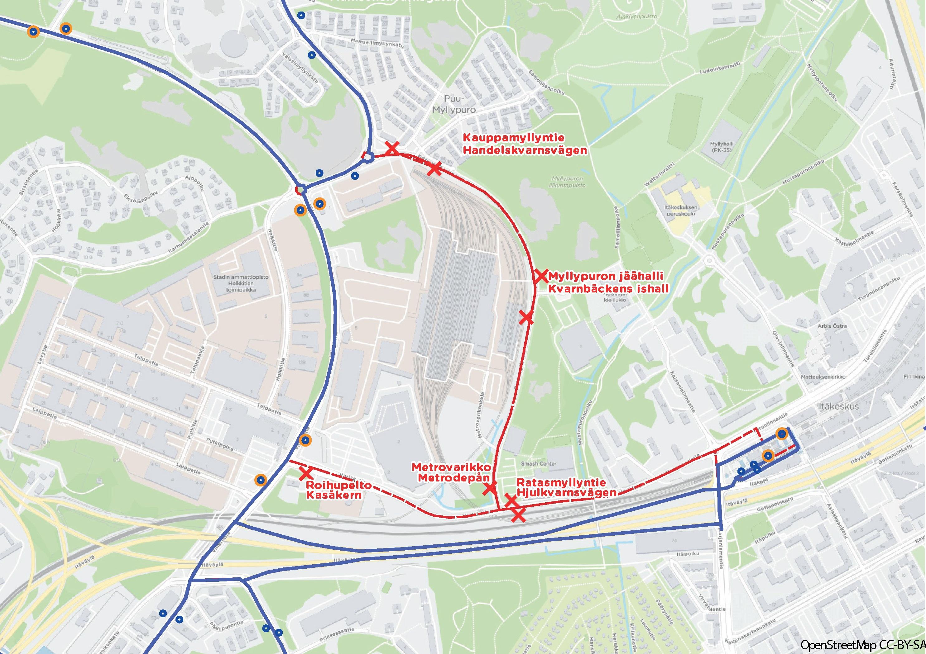 Varikkotie Roihupellossa suljetaan 17.6. Linjat 58,80, 92, 92N ja 550 poikkeusreitille Itäväylän kautta