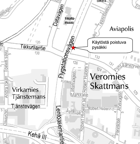 Kartta, poistuva pysäkki V5203
