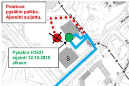 Linjan 36 pysäkki 1827 S-Market Konala siirretään 12.10.2015
