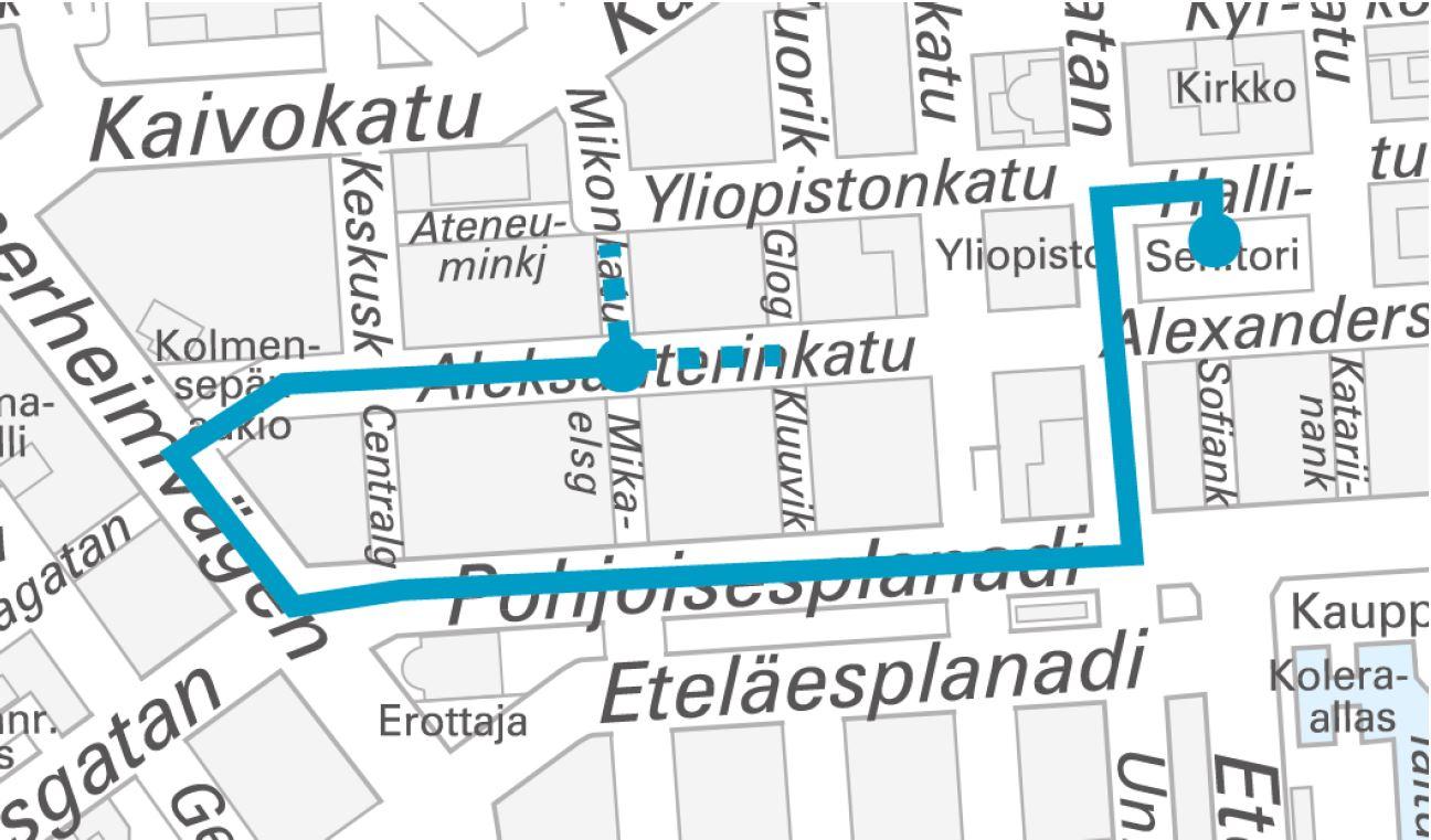 Sambakarnevaalin reitti. Senaatintori - Unioninkatu - Pohjoisesplanadi - Mannerheimintie - Aleksanterinkatu