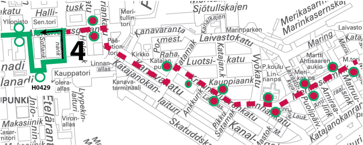 Linja 4 ajaa: Aleksanterinkatu – Kauppatori. Katajanokka jää ajamatta